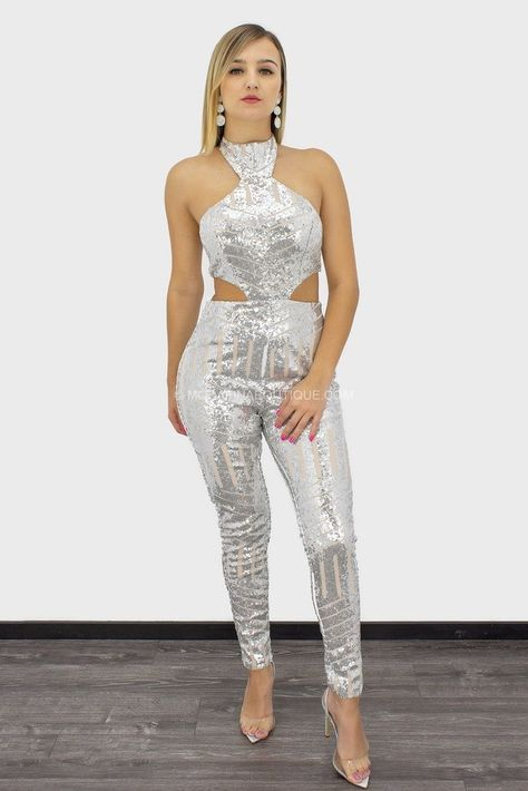 Wilhemina Sequin Cutout Sleeveless Jumpsuit