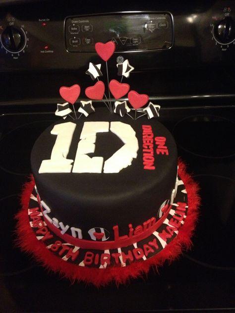 One Direction cake - Vanilla cake and vanilla buttercream.  Fondant, gum paste and edible sugar paper decorations.