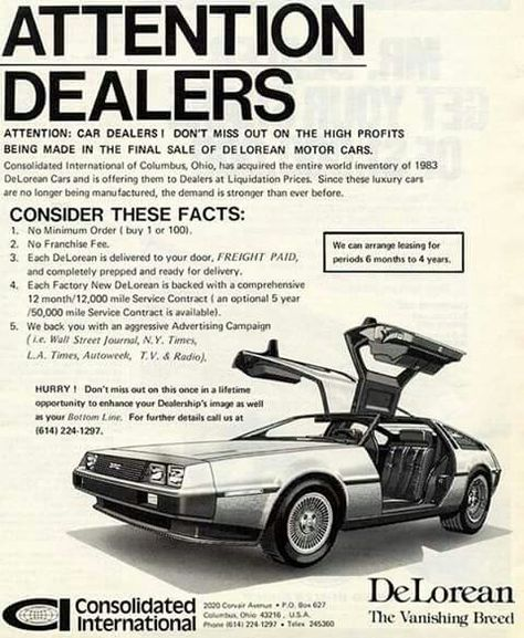 Discount DeLoreans - Columbus, OH #vintagecars Car ads Pinterest - vehicle service contract
