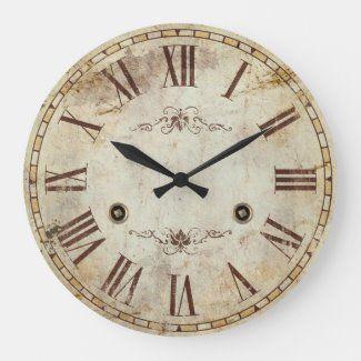 Unique Decorative Roman Numeral Vintage Rustic Large Clock Zazzle Com In 2020 Clock Classic Clocks Farmhouse Wall Clocks