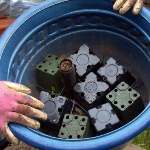 """------Tip: Re-use the 4"""" pots that come with your plants on the bottom of a large planter to add drainage (if there are no holes) and save on soil."""