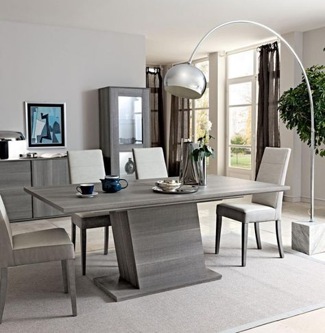 futura collection modern fixed extending dining table in grey saw rh pinterest com