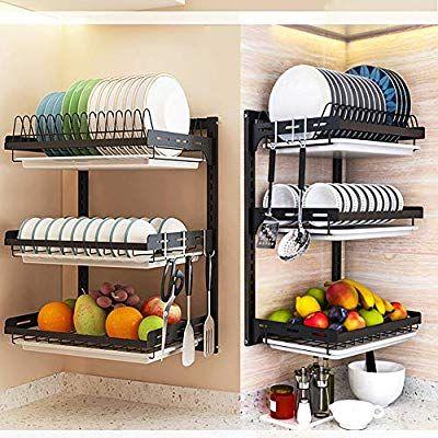 Amazon Com Whifea 3 Tier Dish Drying Rack Stainless Steel Fruit