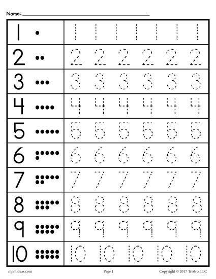 Easy Number Trace Worksheet 1 10 In 2020 Preschool Tracing, Kindergarten  Math Worksheets, Numbers Preschool