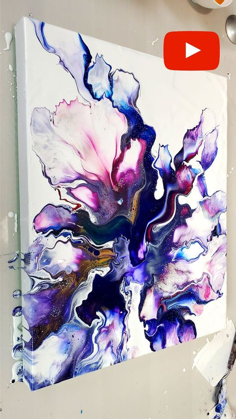 Paint and Water ONLY -  Easy Acrylic Pouring Technique. Dutch Pour + Swipe tutorial by Olga Soby from Smart Art Materials. Fluid Acrylics