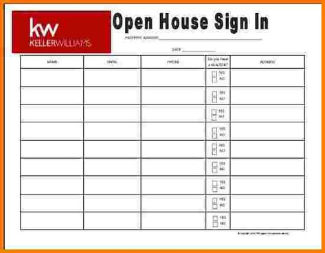 Keller Williams Themed Open House Sign In Sheet By Richagent