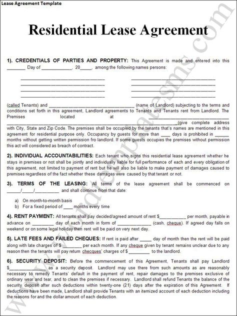 Lease Contract Printable Template Pinterest Real estate forms - lease agreements sample