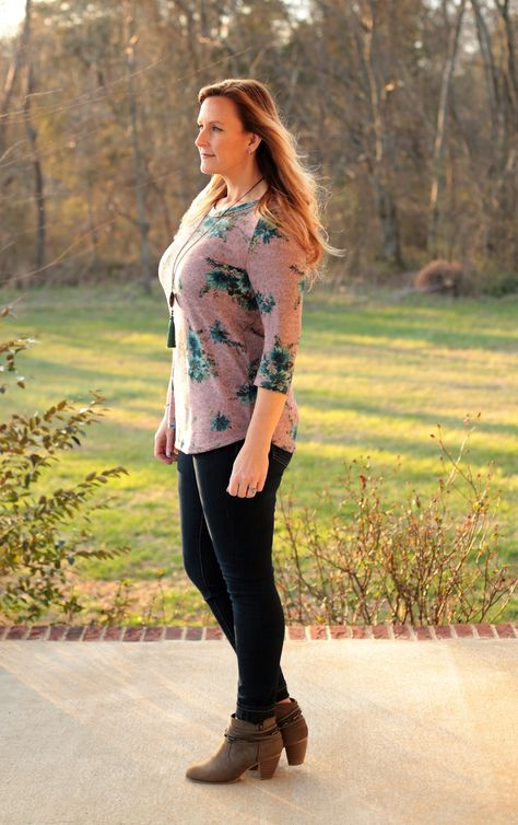 Our Lovely Day Mauve Top is so soft and perfect for Spring! Beautiful mauve color with floral details and flattering fit. Pair with denim or white pants for a chic look.