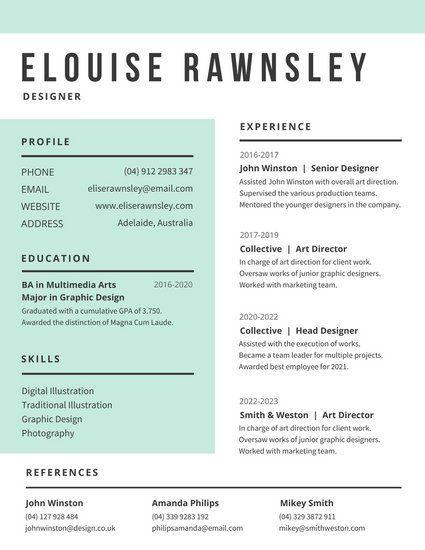 White And Aquamarine Modern Resume