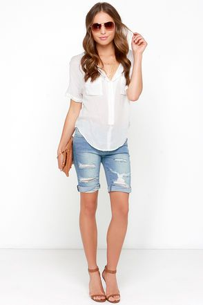 Cut Off Point Medium Wash Distressed Bermuda Shorts Hair Makeup
