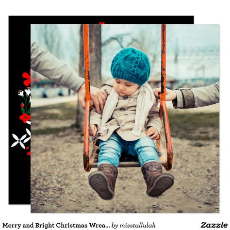 Merry and Bright Christmas Wreath Photo Flat Card