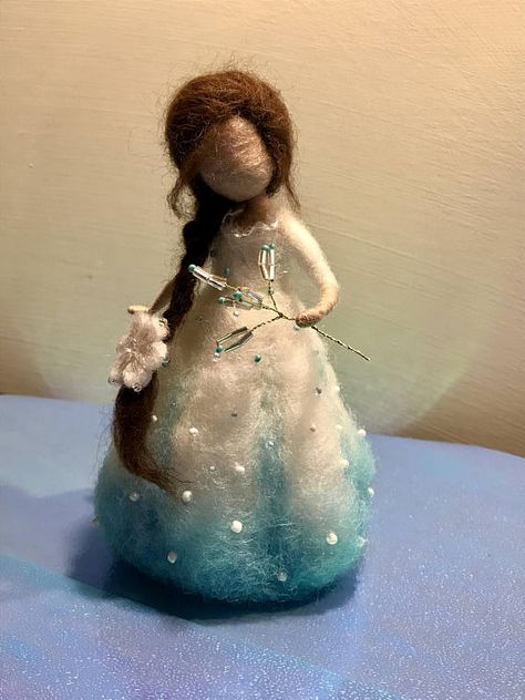 Needle felted fairy Waldorf inspired Winter fairy Felted