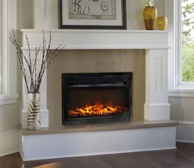 Contemporary Gas Fireplace Inserts With White Fireplace Mantel Surround And…