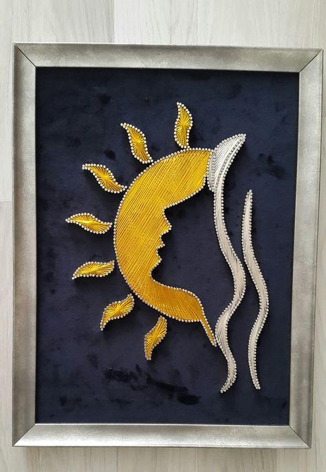 String Wall Art, Nail String Art, Diy Wall Art, Colorful Drawings, Art Drawings, Arte Linear, String Art Patterns, Indian Art Paintings, Thread Art