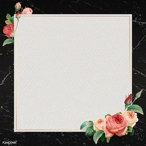 Pink rose frame on a marble textured background vector | premium image by rawpixel.com / nunny