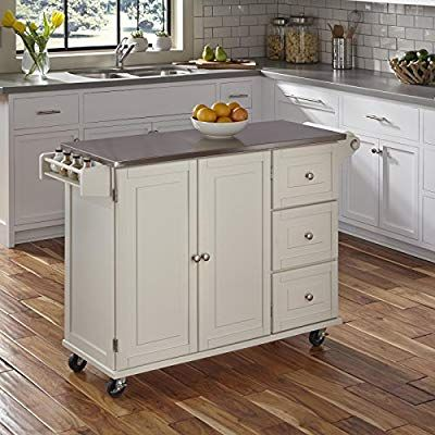 Amazon Com Liberty White Kitchen Cart With Stainless Steel Top