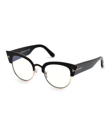 Tom Ford Alexandra Cat Eye Metal Acetate Optical Frames