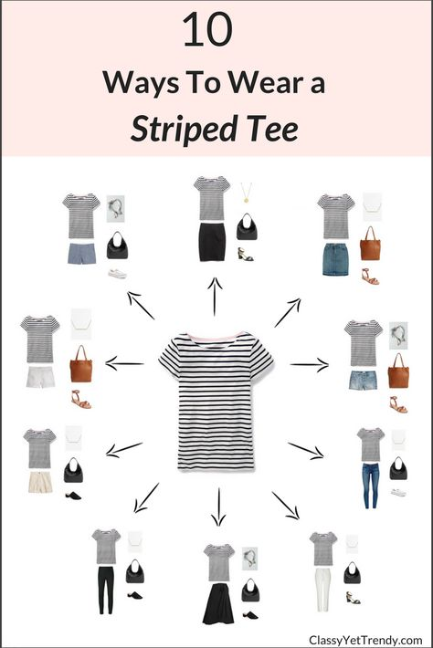 10 Ways To Wear A Striped Tee / T-Shirt - If you have a striped tee in your closet, it can be worn casual with jeans or shorts, plus it can be dressed up with a skirt, pants or with a blazer.  Even though the pattern is stripes, when the stripes are a dark navy or black, it becomes a neutral pattern that can even be worn with other patterns!