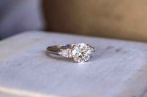 Wedding and Engagement Jewelry   Pinterest Perfect round cut diamond engagement ring with side baguette diamonds  Shop  our engagement ring collection now