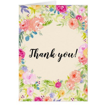 Pretty Peach Pink Watercolor Floral Thank You Card Floral Style Flower Flowers Stylish Diy Pers Watercolor Flowers Card Floral Cards Watercolor Holiday Cards