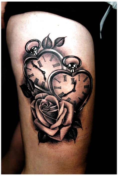 Rose Tattoos For Women, Tattoos For Kids, Tattoos For Daughters, Sleeve Tattoos For Women, Mom Tattoos, Rose Thigh Tattoos, Tattoo Plume, Et Tattoo, Pocket Watch Tattoo Design