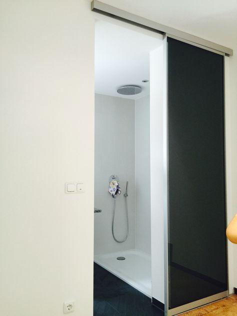 Raumhohe Schiebetüre vor Bad mit Alurahmenschiebetür AR10 mit Glas - schiebetür für küche