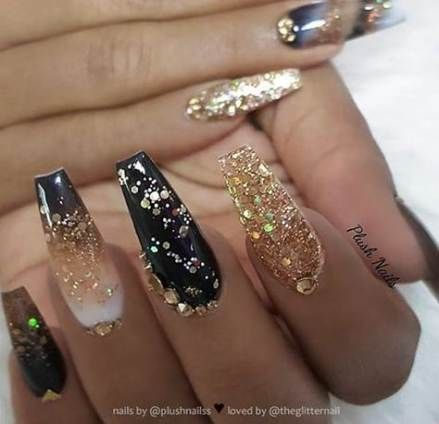 New Nails Acrylic Coffin Gold And Black Ideas Nails In 2020 Gold Acrylic Nails Gold Nails Gold Glitter Nails