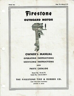 Advertisement Ebay 1960 S Firestone Outboard Motor Owners Manual Parts Catalog In 2020 Owners Manuals Outboard Motors Outboard