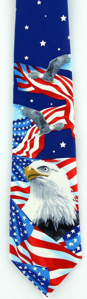 Men/'s Flag Neck Tie Stars /& Stripes Bald Eagle American Bird Patriotic Necktie