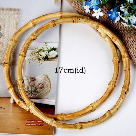 MS 2Pcs Oval Round Natural Bamboo Bag Handle For Handcrafted Handbag