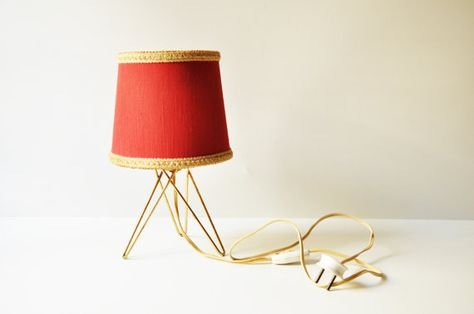 Midcentury Bedside Table Lamp Red Tripod Lamp by