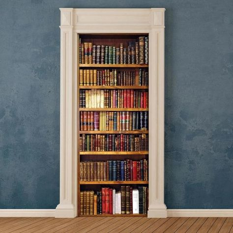 Give your home a classic style with this bookshelf door applique. The leather bound books feature elegant gold edging. Bookcase Door Cover Applique contain 1 piece on 1 sheet that measure x inches.
