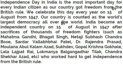 Superbe Independence Day Short Essay 250 Words | Independence Day India | Pinterest