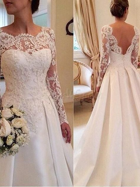 Buy Jewelry Neck Appliques Long Sleeves Wedding Dress With Court Train Online, Dresswe.Com offer high quality fashion,Price: USD$188.99