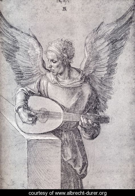 WINGED ANGEL PLAYING A LUTE By Albrecht Dürer Period Renaissance 1497 Technique…