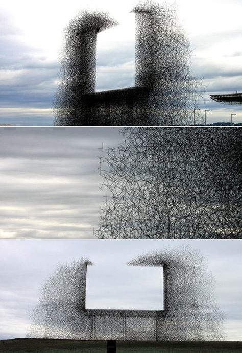 """""""Non-sign"""" an installation piece by Lead Pencil Studio, located near the border between the U.S. and Canada"""