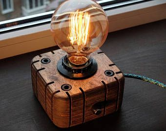 Edison Lampwood Lampwooden Edison Lamptable Lamphandmade Etsy Steampunk Lamp Edison Lamp Industrial Lamp