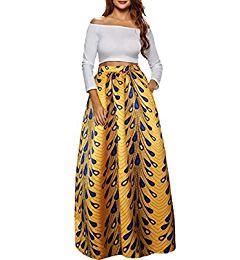 Amazon Com Afibi Women African Printed Casual Maxi Skirt Flared