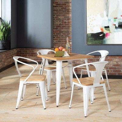Set Of 4 18 Industrial Modern Mid Back Galvanized Steel Chairs With Arms And Solid Ash Wood Seats White Natural Ofm Metal Dining Chairs Steel Chair Modern Industrial