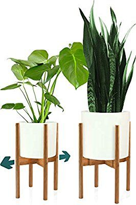 Amazon Com Fox Fern Mid Century Plant Stand Bamboo Adjustable Planter 8 12 Inch Exclud Plant Stand Indoor Mid Century Modern Plant Stand Plant Stand
