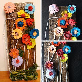 Ania Mama Agnieszki Jesienne Kwiaty Z Szyszek Na Desce Diy Handmade Handmade Floral Wreath