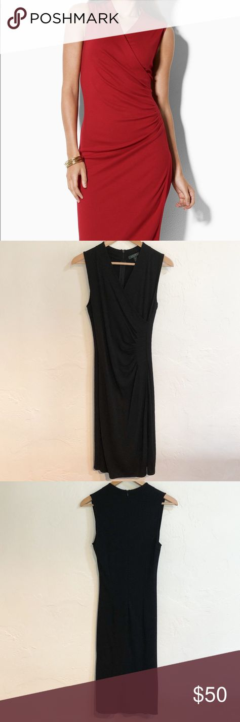 superior quality stable quality closer at Lauren • Ralph Lauren Black Faux Wrap Dress Lovely little black ...