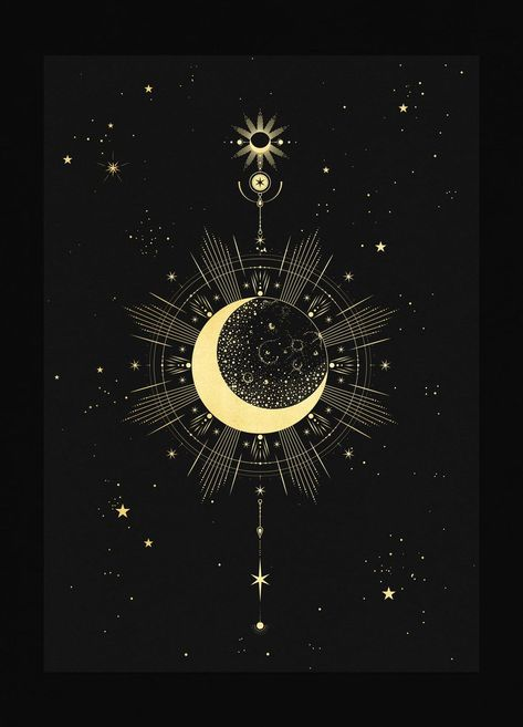 """The Moon talisman print harnesses all the energy of the moon. It showsthe Waning Crescent. The moon approaches its """"new"""" phase once again. In the same way the moon encourages you to be more expansive, acceptive and outgoing in your actions. The waning moon should turn your mind toward downsizing. It is timeto leave o"""