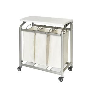 Seville Classics 3 Bag Laundry Sorter With Folding Table Web182 In
