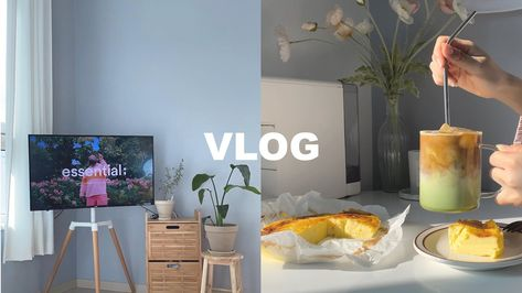 sub) vlog🧀 이젤 티비거치대로 복층 거실 인테리어하기・샷 말차라떼/노오븐 치즈케이크 만들어먹는 일상 +다이소 네트망으로 티비 선 정리 - YouTube