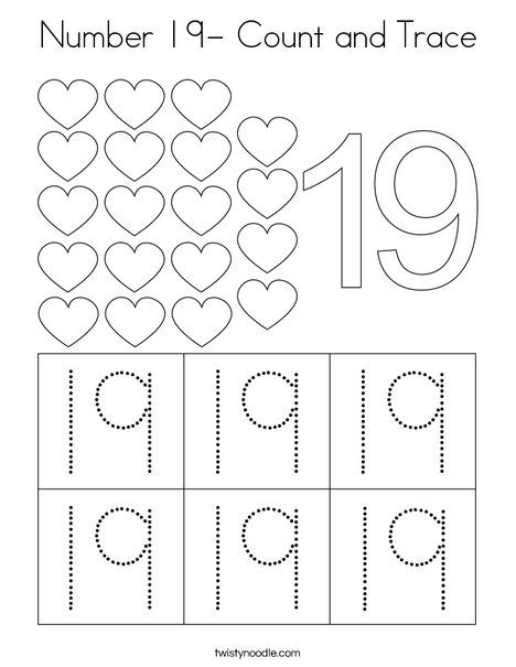 Number 19 Count And Trace Coloring Page Twisty Noodle Numbers Preschool Numbers Kindergarten Learning Numbers Preschool number tracing