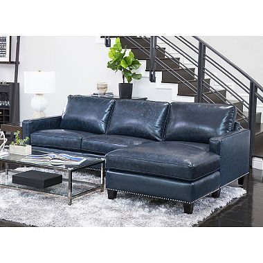 Member S Mark Oliver Top Grain Leather Sectional Sofa Sam S Club Top Grain Leather Sectional Blue Leather Sofa Blue Leather Couch