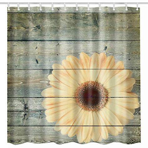 Broshan Flower Blossom On Rustic Wood Plank Shower Curtain Vintage In 2020 Vintage Shower Curtains Sunflower Bathroom Floral Shower Curtains
