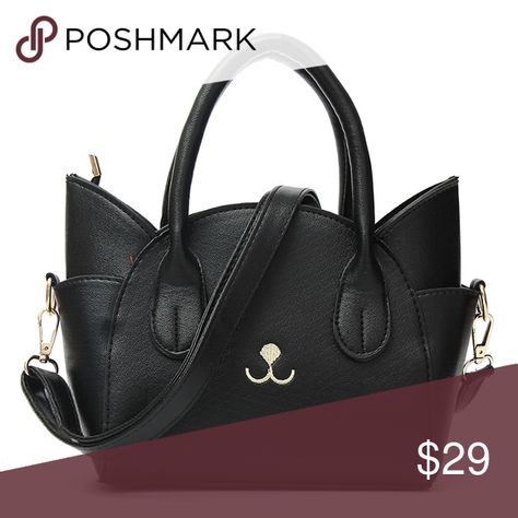 40656e978ef Black Leather Cat Purse / Bag Brand New without tag - no flaws - faux  leather - comes with a removable shoulder strap // tags: goth gothic pets  pet animal ...