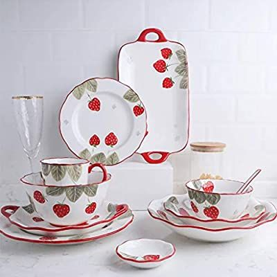 Amazon Com Strawberry Pattern Kitchen Dinnerware Porcelain Bowl For Cereal Soup Pasta Fruit And Salad Rice Bo In 2020 Porcelain Dinnerware Ceramic Tableware Tableware
